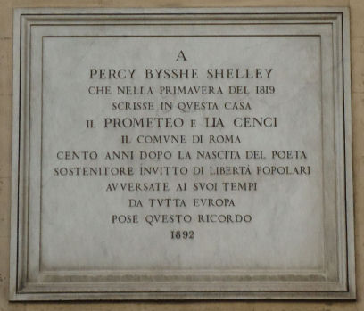Shelley Plaque, Rome