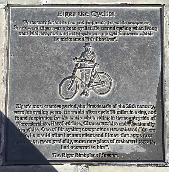 Elgar the Cyclist plaque