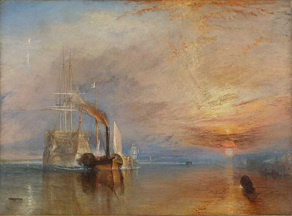 The Fighting Temeraire tugged to her last berth to be broken up. 1839. National Gallery, London